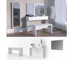 Schminktisch Azur - Weiß Hochglanz - Wandspiegel Kosmetiktisch Frisierkommode Frisiertisch Schminken