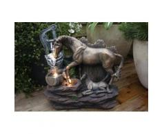 Springbrunnen Pferde mit LED Beleuchtung Tischbrunnen Zimmerbrunnen