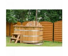 Badefass Bottich Hot Tub D 1,8 m Fichte Ofen Außen Badetonne Sauna Holzofen