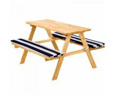 Kinderpicknickbank mit Polsterauflage blau-weiß Gartentisch aus Holz Kinder Sitzgruppe
