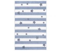 Kinderteppich- Blockstreifen und kleine Sterne in drei Farben und Zwei Größen