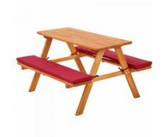 Kinderpicknickbank mit Polsterauflage rot Gartentisch aus Holz Kinder Sitzgruppe