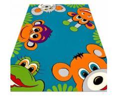 Kinderteppich Bunte Tierwelt sehr Weich & Strapazierfähig Teppich Cool Tiga türkis - Ftit