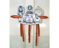 Großes 8- tlg. Porzellan Küchenhelfer Set, Antike Küchenutensilien Zwiebelmuster