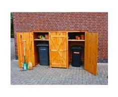 Holz-Mülltonnenschrank 3türig Geräteschrank Gartenschrank Mülltonnenaufbewahrung
