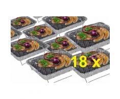 18 x Komplettset Einweggrill Edelstahl Grill Holzkohlegrill Klappgrill Gartengrill Picknickgrill MI