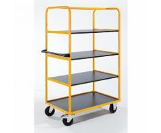 Quipo Regal- und Etagenwagen - 3 Etagenböden + zusätzliche Bodenladefläche - LxBxH 1130 x 700 x 1750