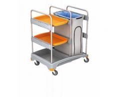 Splast Putzwagen mit Abfallsackhalter inkl. Abdeckung und mit 2 Ablageflächen