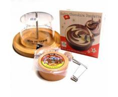 Komplett Set Choco Roulette weiß marmoriert Tete de Moine Käsehobel Haube Girolle