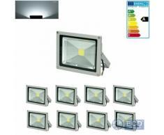 ECD Germany 8er Pack LED Flutlicht Fluter 20W Ip65 Kaltweiß Außenstrahler Wandstrahler Strahler