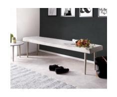 Esszimmerbank Metropolitan Grau 180x40 cm gepolstert Füße silberfarben Sitzbank
