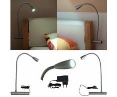 LED Bettlampe Sarah, Bettleuchte aus Aluminium, Schwanenhals Leselampe, 2er Set