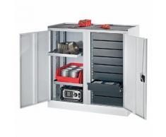 Quipo Werkzeug- und Beistellschrank - 9 Schubladen, 2 Fachböden, 1 Mitteltrennwand - Türen lichtgrau