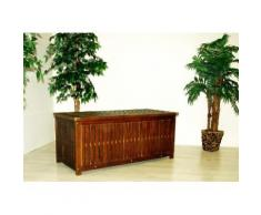 Divero Auflagenbox Kissen-Box Garten-Truhe Akazien-Holz massiv 130 cm Kappdeckel
