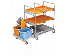 Splast Reinigungswagen aus Kunststoff mit Moppresse, 2 Eimern und 4 Fächern