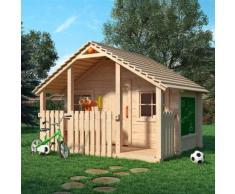 Bobby Bell XXL Spielhaus Kinderspielhaus mit Veranda und Sitzbank Maltafel