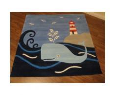 Kinderteppich- Arte Espina 130 x 130 cm Wal am Leuchtturm Teppich