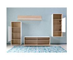 Wohnwand Weiß/Eiche Möbel Wohnzimmer Wohnwand Wohnzimmerschrank Regal