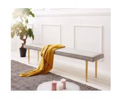 Esszimmerbank Metropolitan Grau 180x40 cm gepolstert Füße Messing Sitzbank