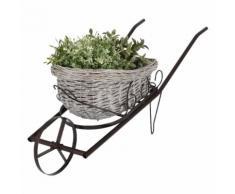 Blumen Topf Schub Karre Garten Dekoration Stahl Weide braun grau Korb Terrasse Harms h504309