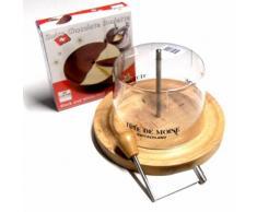 Komplett Set Käsehobel Choco Roulette halb und halb Haube mit Aufdruck Tete de Moine