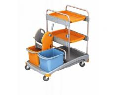 Splast Putzwagen-Set mit 2 Ablageflächen, Moppresse, 2 Eimern und Plastikbasis