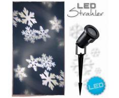 LED Laser Projektor am Erdspieß Schneeflocke