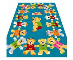 Kinderteppich Teddyfamilie sehr Weich & Strapazierfähig Cool Rolo türkis - Frot