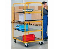 Quipo Regal- und Etagenwagen - 3 Etagenböden + zusätzliche Bodenladefläche - LxBxH 1350 x 800 x 1750