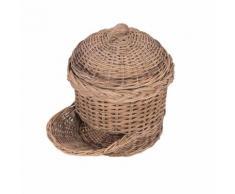 Vorratskorb mit Deckel und Entnahmeöffnung Rattan Naturrattan Küchenkorb Rattankorb