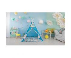 Polini Kids Tipi Spielzelt für Kinder Baumwolle mit Tasche blau, 1432-1