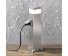 LED Wegeleuchte Tara in Edelstahl-gebürstet mit zwei Steckdosen, 500mm