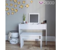 Vicco Schminktisch MIA Weiß hochglanz mit Bank Frisiertisch Kommode Spiegel Beautytisch