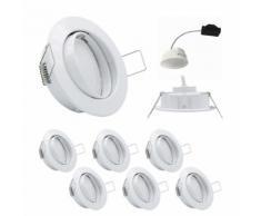6x LED Einbauleuchten Set Weiss 5,5W 3000K 230V Modul flache Einbautiefe 35mm