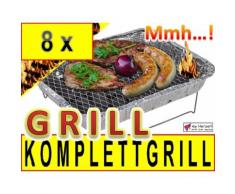8 x Einweggrill als Campingkocher Klappgrill Faltgrill Camping Grill Grillroste Alu-Grill Einmalgril