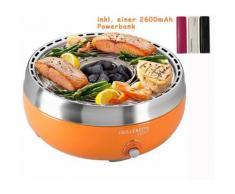 BBQ Holzkohlegrill Umluftgebläse Tischgrill Orange inkl. 2600mAh Powerbank