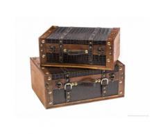 2er Set Holzkoffer Box Oldtimer Koffer Suitcase Truhe Holz Nostalgie antik Stil