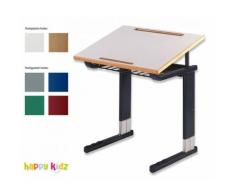 Hohenloher Schülertisch Deltaplus Einsitzer einfache Neigung, mit Ablagekorb und Mappenhaken