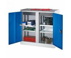 Quipo Werkzeug- und Beistellschrank - 2 Schubladen, 4 Fachböden, 1 Mitteltrennwand - Türen