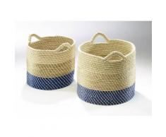 Deko-Korb aus Seegras blau, weiß und natur mit weißem Kunststoffband umwickelt - 2er Set