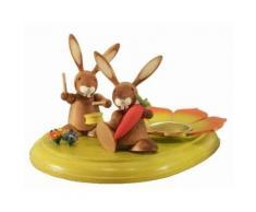 Osterdeko Osterbrett bunt mit Hasen und Teelicht 11cm NEU
