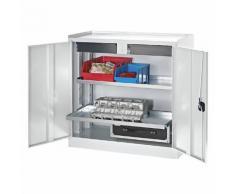 Quipo Werkzeug- und Beistellschrank - 2 Schubladen, 2 Fachböden durchgehend - Türen lichtgrau -