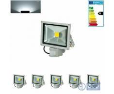 ECD Germany 5 x LED Flutlicht Fluter 20W Ip65 Kaltweiß Bewegungsmelder Außenstrahler Wandstrahler