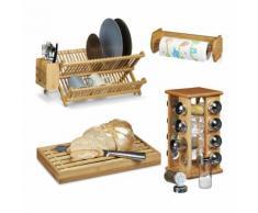 relaxdays 4 tlg. Küchen Set Gewürzständer Abtropfgitter Brotschneidebrett Rollenhalter