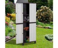 Geräteschrank mit 3 Einlegeböden Kunststoffschrank Gartenschrank Garten Grau