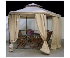 Pavillon / Gartenpavillon 6-Eck aus Metall mit Dach & Fliegenschutznetz 1,85 m