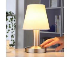 Nachttischlampe Hanno mit weißem Textilschirm