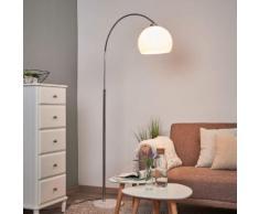 Bogenlampe Sveri mit Marmorfuß und weißem Schirm