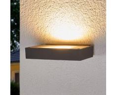 Dunkelgrauer LED-Wandfluter Finja für draußen