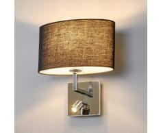 Schwarze Stoff-Wandlampe Karla mit LED-Leselampe
